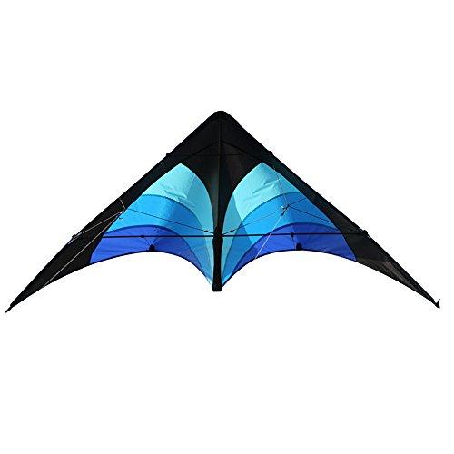 Elliot Delta Stunt, Zweileiner Lenkdrachen für Einsteiger, 130 x 65 cm, Ready to Fly, schwarz-blau