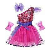 IEFIEL Vestido Danza Niña Disfraz de Bailarina Vestido Lentejuelas de Ballet Latín Jazz Princesa Disfraces Infantiles de Baile 3-14 Años Rosa 7-8 Años