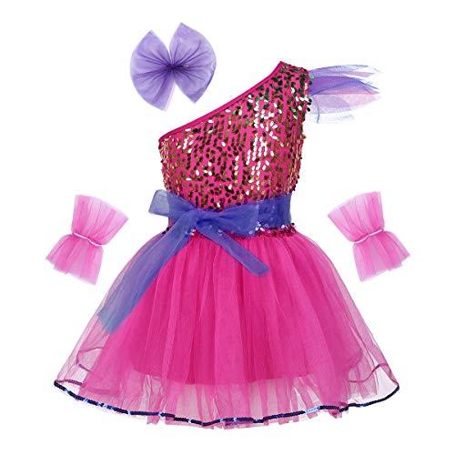 Agoky Mädchen Tanzkleid Pailletten Kostüm Tutu Rock Reifrock Neckholder Top zum binden Blumen Armband Ballettkleid Outfits Dancewear Rose Rot 122-128/7-8Jahre