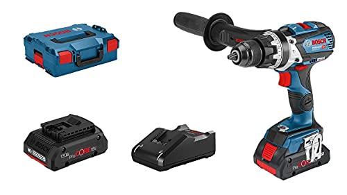 Bosch Professional 18V System Taladro percutor a batería GSB 18V-110 C (110 Nm, 2100 rpm, conectable, 2 baterías ProCORE18V 4.0Ah, en L-BOXX 136)