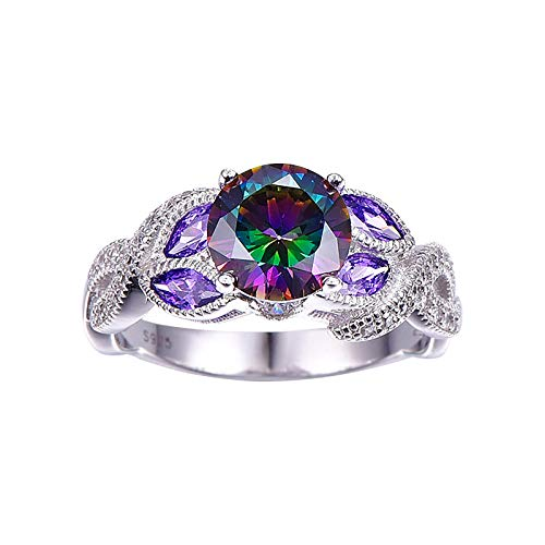 Janly Clearance Sale Anillos de mujer, joyería de plata 925 mística para mujer, anillo de compromiso, aleación, joyas y relojes para regalo de San Valentín (10)