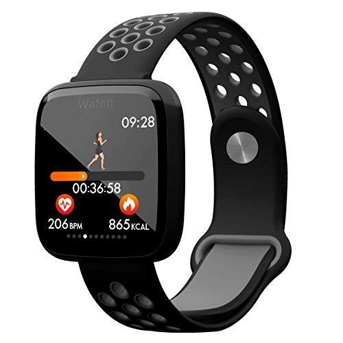 POAE Pulsera Inteligente de Color, Reloj Inteligente de Vidrio Templado monitoreo en Tiempo Real de Pasos calorías monitoreo de frecuencia cardíaca Soporte para múltiples Idiomas-Black