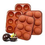 Half Circle Semi Sphere Silicone Mold, 6 Holes Silicone Mold For Chocolate, BPA Free Cupcake Baking (Chocolate, 4 PCS)