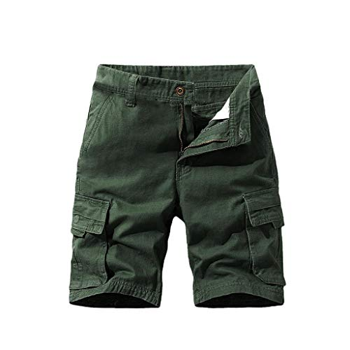 Buy Rishine Men's Casual Loose Fit Twill Bermuda Cargo Shorts Multi Pocket Straight Shorts Outdoor S...