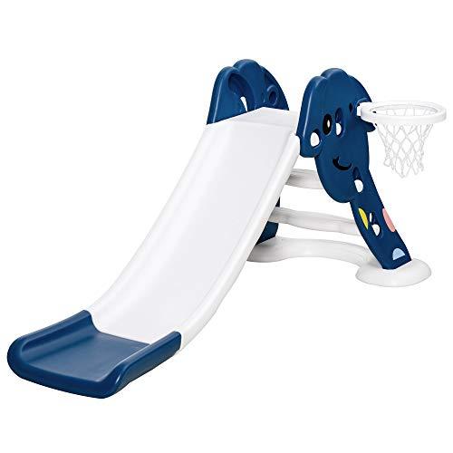 HOMCOM Toboggan Enfant Panier Basket 2 à 6 Ans Usage intérieur extérieur dim. 146L x 68l x 68H cm Balle + Pompe incluses HDPE Bleu Blanc