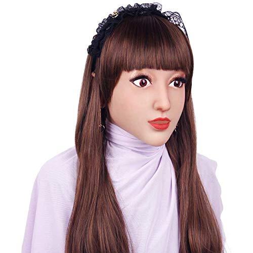 XUESHA Verschleiern Maskerade Für Mann Feminine Silikon Realistische Göttin Gesicht Für Halloween Crossdresser Event & Partei Liefert,Lvory White