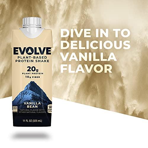 Evolve Plant Based Protein Shake, Vanilla Bean, 20g Vegan Protein, Dairy Free, No Artificial Sweeteners, Non-GMO, 10g Fiber, 11 fl oz, (12 Pack) (Formula May Vary)