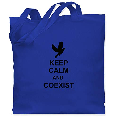 Shirtracer Keep calm - Keep calm and coexist - Unisize - Royalblau - Keep calm - WM101 - Stoffbeutel aus Baumwolle Jutebeutel lange Henkel