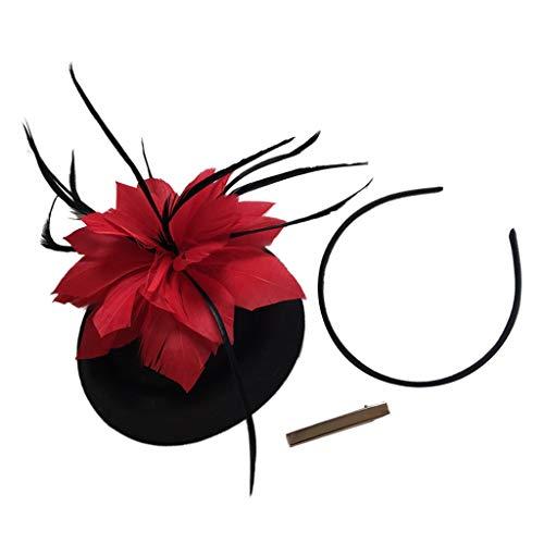 Diadema de Pelo Sombrero Floral con Plumas Fascinator Tocado Vintage para Mujer...