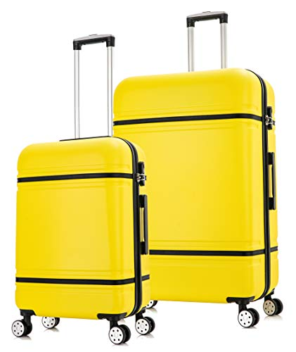 Starlite Luggage ABS147 Set of 2 Large and Cabin Hard Shell Suitcase 4 Wheel Spinner Yellow