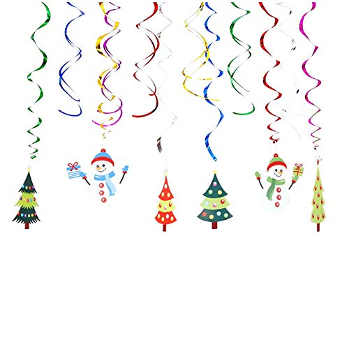 Decoraciones navideñas en Forma de Remolino, 12 Piezas de Papel de Aluminio para Colgar en el Techo, Patio, Fiesta, hogar y jardín, decoración del hogar