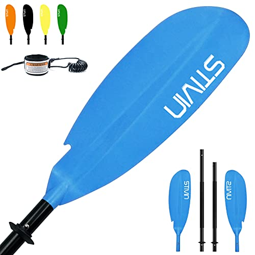 STIVIN 4 Piece Kayak Paddle with Leash 91.7inch Aluminum Shaft PP Blade Non-Slip Hand Grip Adjustable Angle Drip Rings Floating Oars Lightweight Paddles for Kayaking Fishing Canoeing Touring(Blue)