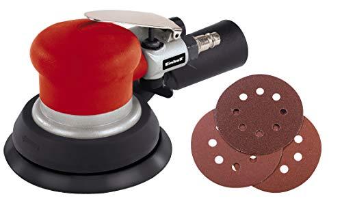 Einhell Druckluft-Exzenterschleifer DSE 125 (6,3bar max., Alu-Druckguss Gehäuse, rutschs. Handgriff, Absaugadapter, inkl. 6-tlg. Schleifpapier-Set)