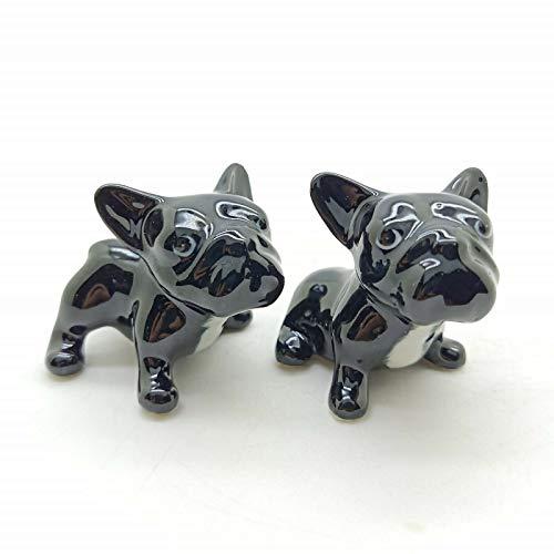 Grandroomchic Animal Miniature Handmade Porcelain Statue 2 Black French Bulldog Dog Figurine Collectibles Gift