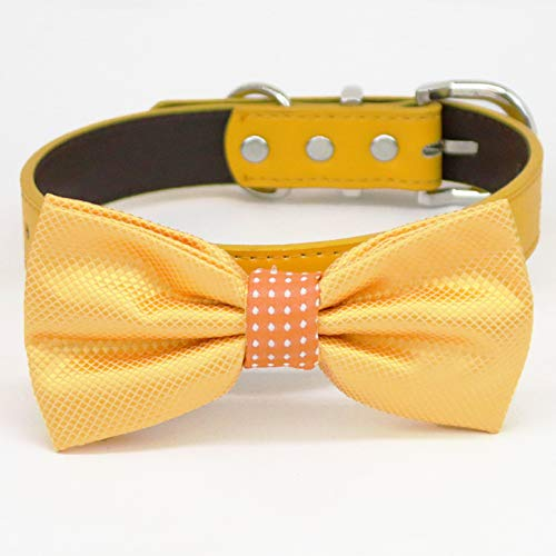 Yellow orange polka dots Max 79% OFF bow tie be Shipping included ring dog of honor collar