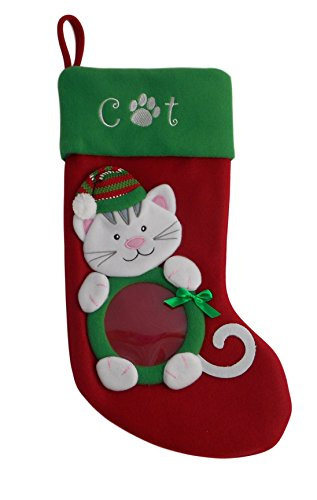 KKC Interiors Christmas Stocking for Dog or Cat with Picture Xmas Photo Opening (Cat)