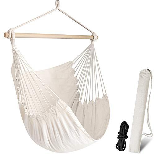 Chihee Silla de la Hamaca Hamaca Grande de relajación Que cuelga, Silla de Tela del algodón para Mayor Comodidad y Durabilidad Interior/al Aire Libre del hogar 🔥