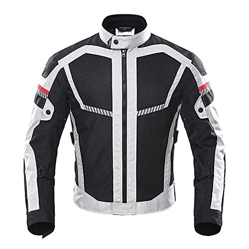 WFGZQ Chaqueta De Motocicleta para Hombre Respirable Armadura Protección Reflexión de Alto Brillo para Verano Primavera Otoño