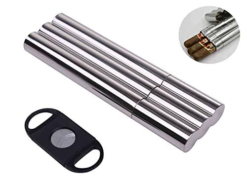 ヒュミドール 葉巻 ケース シガー304 ステンレスケース 携帯 保管 喫煙具 シガー カッター セット