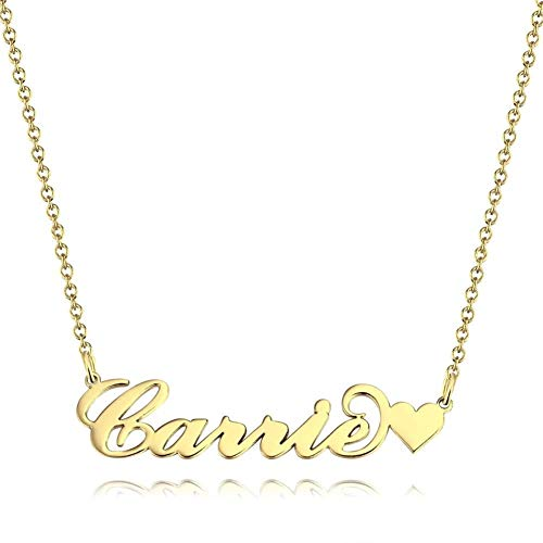 SOUFEEL Namenskette Carrie Kette mit Herz Namen Halskette Damen Halskette Freundschaftsketten Personalisiert Muttertag Geschenk mit Wunschnamen 14K Gold vergoldet
