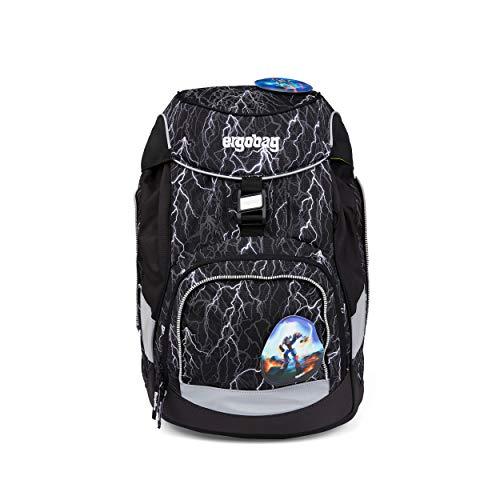 Ergobag Pack Super ReflektBär Glow, ergonomischer Schulrucksack, Set 6-teilig, 20 Liter, 1.100 g, Schwarz