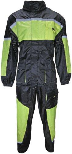 HEYBERRY Motorrad Regenkombi Regenhose Regenjacke schwarz neon grün Gr. M