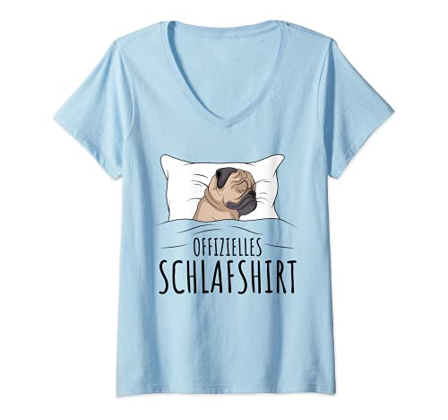 Damen Offizielles Schlafshirt Schlafanzug Mops Hund Geschenkidee T-Shirt mit V-Ausschnitt