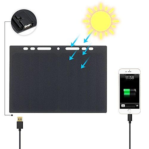 Lixada 10W Portátil Cargador de Panel Solar de Alta Potencia Panel,Mini USB Puerto para Teléfono Celular Camping Equitación Escalada Viaje Actividades Al Aire Libre
