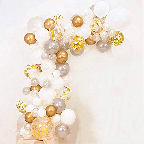 Balloon Garland Arch Kit, Balloons Garland Set Gold White Balloons Confetti Artificial Palm Wedding Shower Birthday Party Halloween Decorations DIY Decor Pack of 136