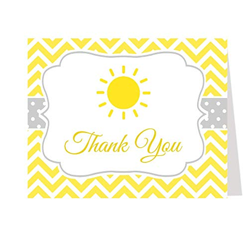 Sunshine Thank You Cards My Little Sun Ray of Yellow Chevron Stripes Thanks Bright Yellow Gender Neutral Unisex Fun Unique Sun White Custom Printed Blank Inside Folding Notes (50 count)
