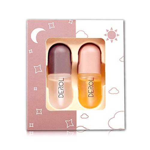 DEROL 2Pcs Lip Plumper Set, Natural Lip Plumper and Lip Care Serum, NO NEEDLES,Lip Enhancer for Fuller, Lip Mask, Beautiful Fuller, Hydrating & Reduce Fine Lines
