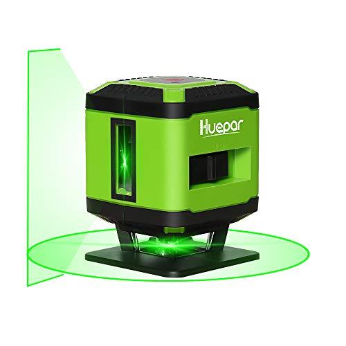 Huepar FL360G tegels laser groen, kruislijnlaser voor het leggen van tegels, schakelbare zelfnivellerende 360° horizontale lijn, 15m werkgebied radius overkapping, incl. houder