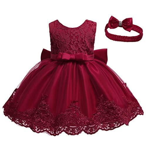 INLLADDY Baby Mädchen Prinzessin Kleid 2tlg Set Bowknot Spitze Taufkleid Festlich Kleid Hochzeit Party Festzug Taufe Tutu Kleid 0-94 Jahre Weinrot 12-18Monate