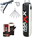 Maxx 5FT BLACK/WHITE Punch bag, boxing bag with BRACKET + GLOVES FREE CHAIN