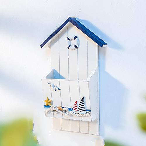 Briefablage mediterraner Briefkasten Schlüsselhaken Briefkasten Bootform Stifthalter Rack Holzregal Wandbehang Aufbewahrungsboxen Büro Organizer 1