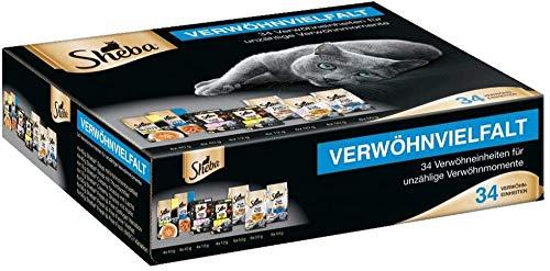 Sheba Verwöhnvielfalt-Paket mit Sheba Soup, Fresh & Fine und cremigen Snacks, 34 Einheiten (8 x 40 g Soup, 18 x 60 g Fresh & Fine, 8 x 12 g Creamy Snacks)