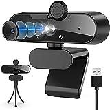 ISUDA Webcam PC 1080p,Webcam PC con Trípode,Enfoque Automático y Micrófono de Reducción de Ruido,USB 2.0 Plug y Play,Plegable,360 Giratorio,para Videollamadas,Grabación, Conferencias