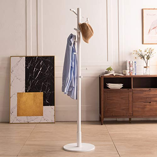 MHMT Coat Rack Tree Free Standing,Wooden Coat Tree Hanger Stand With 10 Hooks,Easy Assembly Entryway For Clothes Hats Handbags-White 40x40x180cm