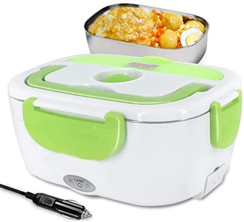 SIQI 12V Fiambrera con calefacción eléctrica Caja térmica Bento Calentador de alimentos con contenedor de comida de acero desmontable de 1.5L para automóvil (12V para automóvil)-green