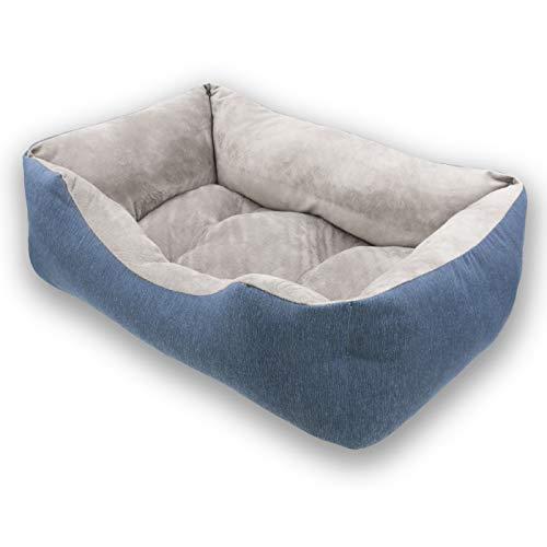 MERCURY TEXTIL- Sofá, Cesta,Cama Comoda para Perros,Gatos y Mascotas, con Relleno de Fibras Super Suave,Resistente al Desgaste y Duradero (Mediano, Azul)