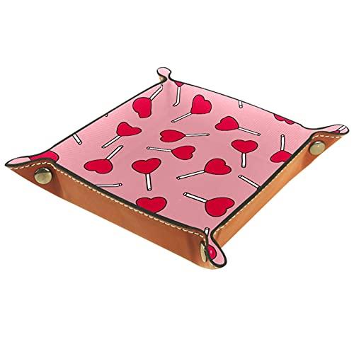 Bandeja de cuero para mesita de noche, organizador de joyas para hombres, monedero, caja de monedas, bandeja de viaje de poliuretano, patrón de palo de amor rosa