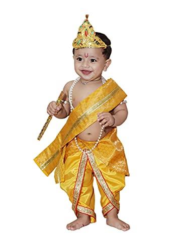 Raj Fancy Dresses Baby Krishna Brocade Fabric Janmashtami Mythological Character Costume 4