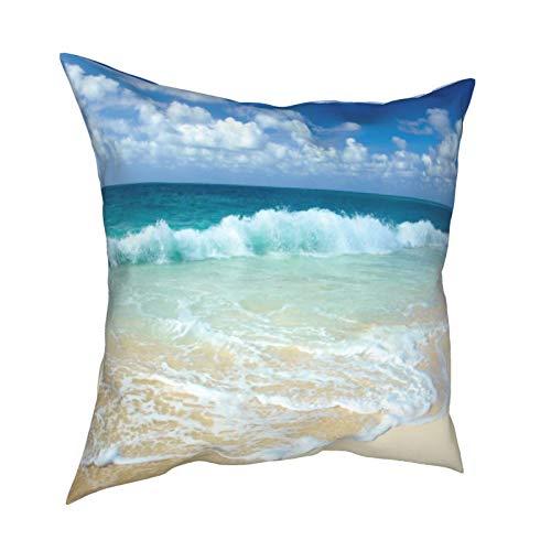 Kissenbezug mit schaumigen Wellen auf leerem Meer Ufer Urlaub quadratischer Kissenbezug Heimdekoration für Wohnzimmer Schlafzimmer Sofa Stuhl 45,7 x 45,7 cm