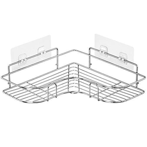 Estantes de almacenamiento para baño, esquina de baño, estante de almacenamiento de acero inoxidable, accesorios de baño triangular, champú y jabón (color: plata)