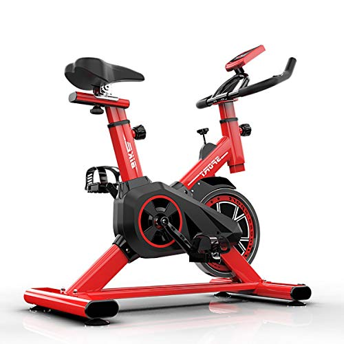 ZXGMZ Bicicleta Estáticas para Fitness, Bici De Spinning, Calidad Profesional, Rueda De Inercia Bidireccional,Transmisión por Cadena Fija,Asiento Ajustable, Pantalla LCD / 150KGRed