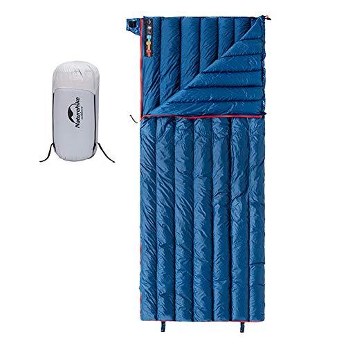 Tentock Sacco a Pelo da Campeggio Caldo Leggero Solo 570 g Impermeabile Rettangolare Sacchi a Pelo in Piuma D'Oca Super Caldo Invernale -12℃(Blu, Standard)