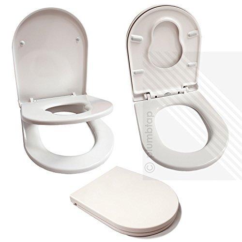 Premium Soft Close White D-Shape Toilet Seat for Young Families | Child...