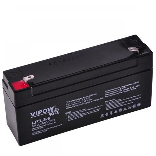 Vipow lood-accu industriële accu, onderhoudsvrij 6 V 3,3 Ah (BAT0205)