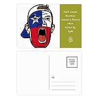 チリの旗の顔の化粧マスクを叫んでいるキャップ 詩のポストカードセットサンクスカード郵送側20個