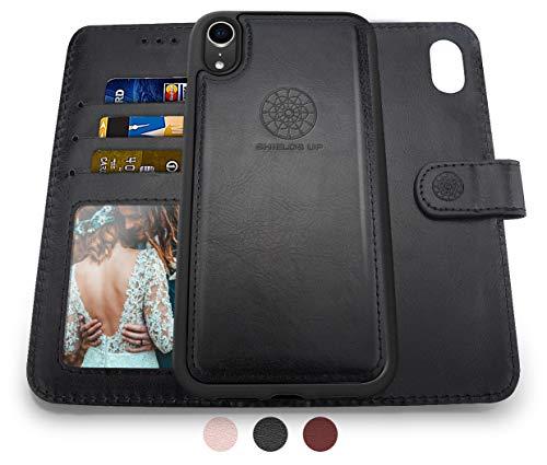 SHIELDS UP Cover iPhone XR, 2in1 Custodia Portafoglio in Pelle Vegana, Magnetica Antiurto TPU Sottile [Protezione RFID] per iPhone XR 6.1'' -Nero